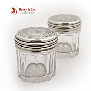 Dresser Jars Pair London 1856 W.Neal  Sterling Silver