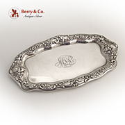 Ornate Cherub Face Dresser Tray Gorham 1900 Sterling Silver