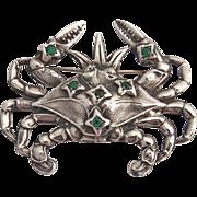 Crab Figural Brooch Green Rhinestone Sterling Silver