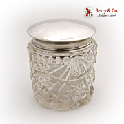 Dresser Jar Cut Crystal London 1912 Sterling Silver