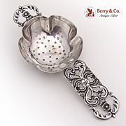 Ornate Tea Strainer Open Work 1940 Sterling Silver
