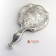 Hand Mirror Acid Etched Webster 1910 Sterling Silver