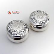 Repousse Pair Pill Boxes Shreve and Co Sterling Silver
