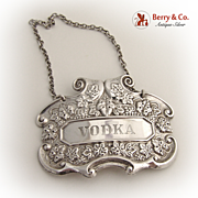 Vodka Bottle Tag Label 1900 Sterling Silver