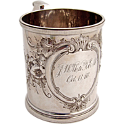 Christening Cup Floral Wood and Hughes 1880 Sterling Silver
