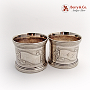 Aesthetic Pair Napkin Rings 1870 Coin Silver