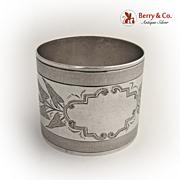 Calla Lily Napkin Ring  1880 Coin Silver