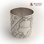 Floral Designs Napkin Ring 1870 Coin Silver