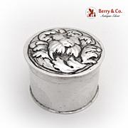 Repousse Pill Box 800 Silver German
