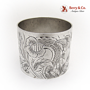 Bright Cut Floral Napkin Ring 1880 Sterling Silver