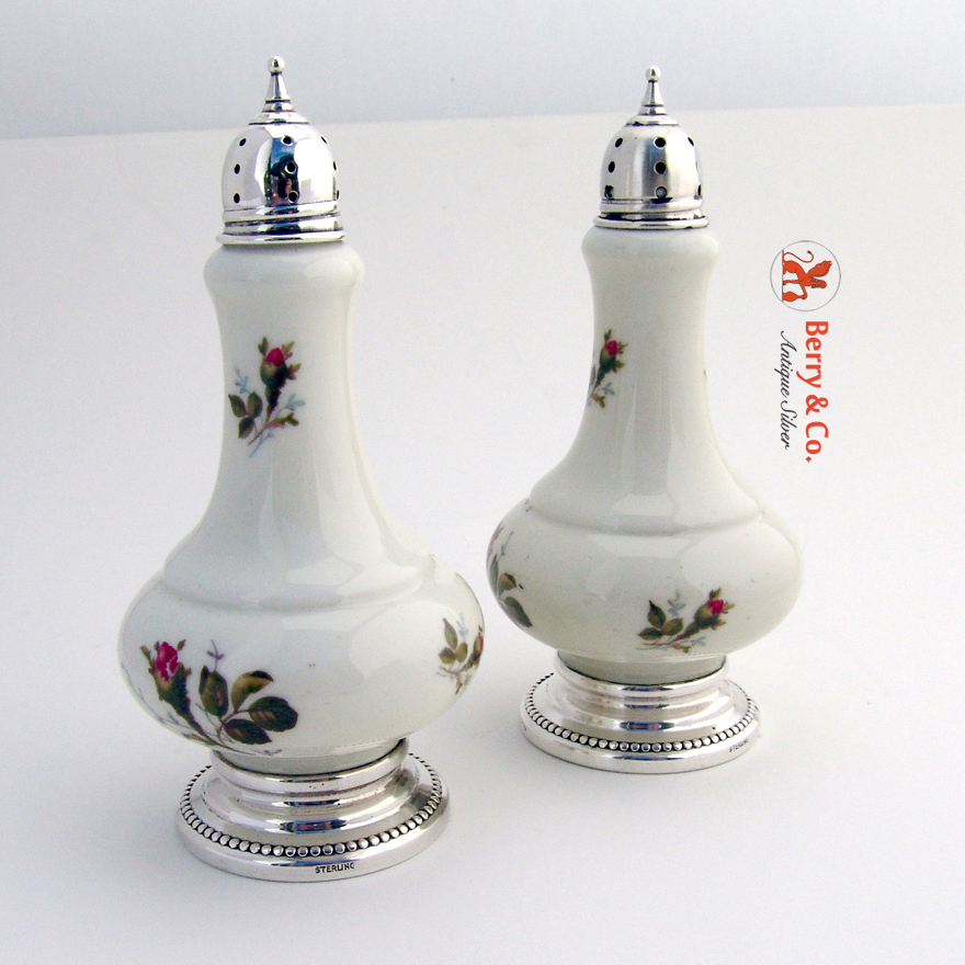 Porcelain Salt And Pepper Shakers Sterling Silver From