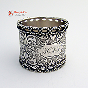 Pierced Scrolls Coin Silver 1890 Napkin Ring