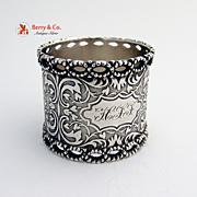 Pierced Scrolls Coin Silver 1890 Napkin Ring