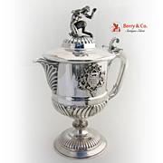 Satyr Finial Wine Ewer Italian 800 Silver