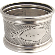 Engine Turned Napkin Ring Coin Silver
