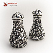 Repousse Salt and Pepper Shakers Kirk 1880 Sterling Silver