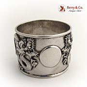 Chinese Export Silver Dragon Napkin Ring 1920
