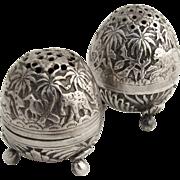 Egg Shape Salt Pepper Shakers 1890 Coin Silver