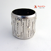 Log Napkin Ring Wood and Hughes 1880 Coin Silver