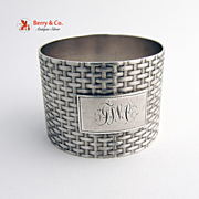 Basket Weave Napkin Ring Wood and Hughes Coin Silver