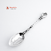 Antique Antwerpen Hand Souvenir Spoon Sterling Silver 1890