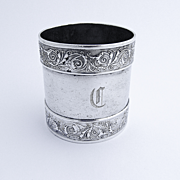 American Monogrammed Napkin Ring Embossed Borders Coin Silver 1880