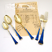 Important Flatware Set With Receipt Guilloche Enamel Sterling Silver Peter Hertz 1909