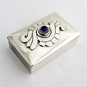 Damaso Gallegos Box With Amethyst Cabachon Sterling Silver 1960