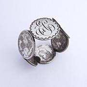 Antique Hawaiian 1/4 Dollar 6 Coin Monogrammed Napkin Ring 1890
