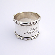 Antique Ribbon And Thread Napkin Ring Sterling Silver 1910
