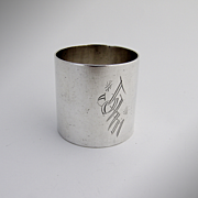Large Heavy Napkin Ring Sterling Silver 1920