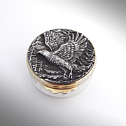 Magnificent Buccellati Small Round Box With High Relief Eagle Sterling Silver