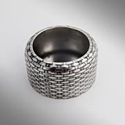 Basket Weave Open Salt Cellar Sterling Silver Whiting 1870
