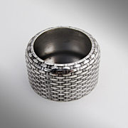 Basket Weave Open Salt Cellar Sterling Silver Whiting 1870