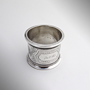 Aesthetic Large Napkin Ring Coin Silver 1870