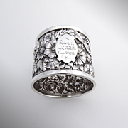 Victorian Repousse Napkin Ring Coin Silver 1878