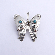 Butterfly Pin Sterling Silver Turquoise Mexico 1975