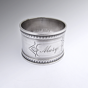 Engine Turned Embossed Napkin Ring Coin Silver 1867