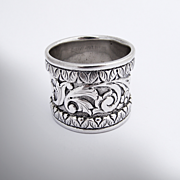Extremely Heavy Floral Napkin Ring Sterling Silver 1890