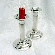 Column Candlesticks Pair Gorham 1930 Sterling Silver