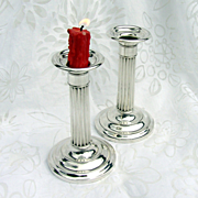 Column Candlesticks Pair Gorham 1930 Sterling Silver