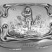 Soap Box Flower Girl W. Bouguereau Mauser Sterling Silver 1890