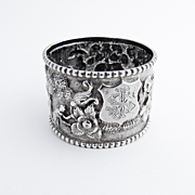 Figural Country Landscape Repousse Napkin Ring Coin Silver 1900