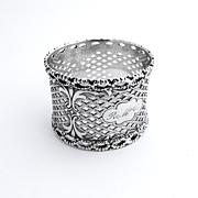 Gothic Openwork Napkin Ring Coin Silver 1870