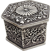 Ornate Hexagonal Hand Chased Scroll Dresser Box Sterling Silver 1880
