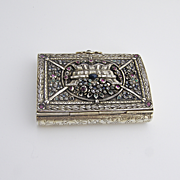 Ornate Antique Floral Cigarette Box Sterling Silver 1860