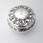 Tiffany Floral Scroll Dresser Jar Sterling Silver 1890