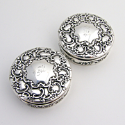 Pair Of Tiffany Floral Scroll Small Round Boxes Sterling Silver 1890