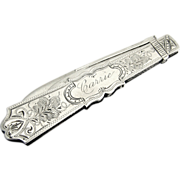 Folding Pocket Fruit Knife Sterling Silver Coin Silver 1910