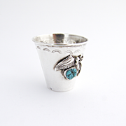 Navajo Shot Cup Turquoise Sterling Silver Jim Yazz